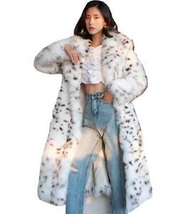 Women's White Faux Fur Black Dot Long Winter Overcoat Lapel Collar Luxury Warm