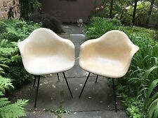 Pair 1949/50 Zenith Herman Miller Eames Fiberglass Light Ochre Arm Chairs Shell