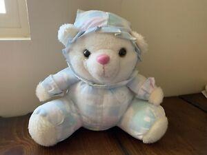 Teddy Bear Plush White Vintage Plaid Pastel ABC Baseball Nightcap Ruffle Collar