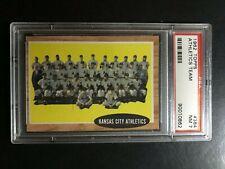 1962 Topps Baseball Cards #384, Athletics Team, PSA 7 Set Break, Nice!!!