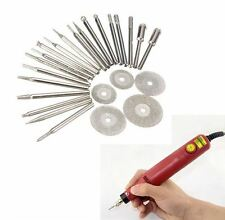 25pcs Diamond Coated Rotary Burrs and Cutting Wheel Blade Disc Set for Dremel Ro