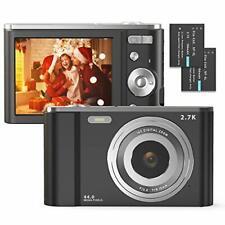 Digital Camera, FamBrow 2.7K Ultra HD 44 MP Vlogging Camera with 16X Black