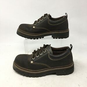 Skechers Oxford Comfort Shoes Womens 7.5 Lug Sole Round Toe Leather Brown 7914