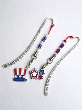 #5470 -- SILVER BOOKMARKS RED WHITE BLUE PATRIOTIC STAR HAT CHARMS -WOW!