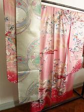 Kimono Furisode und Fukuro-Obi Set Silk  JAPANESE Kimono Yuzen handgenäht antik