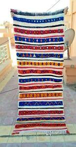 "Handmade Vintage Moroccan Carpet,2'82""x 7'54""Feet,Berber Blue Striped Nomad Rug"