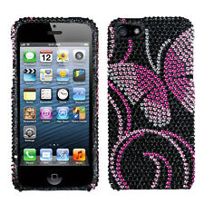 iPhone 5 5S SE Crystal Diamond BLING Hard Case Phone Cover Fairyland Butterfly