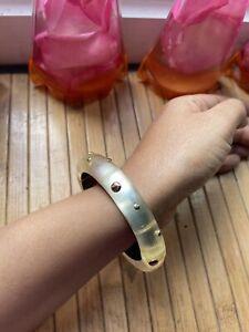 Alexis Bittar signed off-white semi transparent bracelet/bangle,gold studded