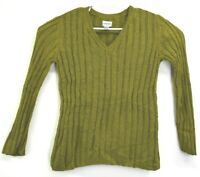 Chico's Women's Size 2 Stretch Loose Long Sleeve V-Neck Ribbed Sweater Green