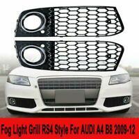 2PCS Fog Light Cover LH+RH Grille Honeycomb Black Gloss For Audi A4 B8 09-12 RS4