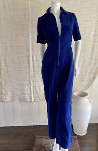 Vintage 70s Handmade Cord Jumpsuit Pantsuit Corduroy Blue Size 6 8 Short Sleeve