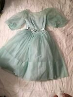 True Vintage 1963 Chiffon / Satin Baby Blue Prom Dress