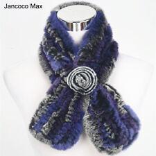 2019 Thick Knitted Real Rex Rabbit Fur Scarf Women Winter Warm Shawl Warps 71528