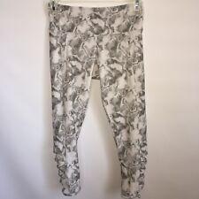 Onzie Weave Yoga Capri Open Side Strappy Leggings White Black Print Size XS