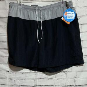 COLUMBIA Sandy River Color Blocked Shorts Sz 1x Black Gray Omni Shade UPF 30 New