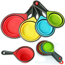 TRIXES 4PCS*Collapsible Silicone Measuring Cups Spoons Hot