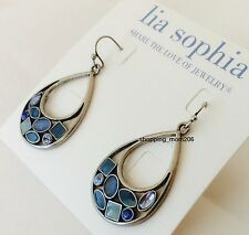 "Lia Sophia ""Atlantis"" Blue Stones and Enamel Earrings"