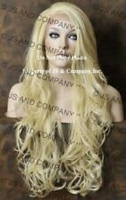 """Human Hair Blend Full Lace Front Wig long Beach Wavy  Blonde 25.5"""" ws 613"""