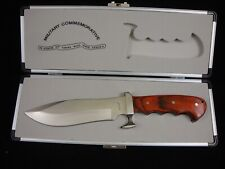 "Maxam MI13177 Brown Wood Commemorative Military 11-1/2"" Bowie Knife W/ Case"