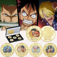 5pcs One Piece 20th Anniversary Gold Commemorative Coin Luffy Ace In The Box