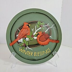 """Crazy Mountain Decorative Plate Angela Anderson Winter Blessings Cardinals 10"""""""