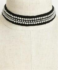 NEW..Sassy Black Choker with Faux Pearls & Rhinestones great for Gastby