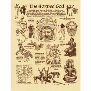 """Horned God Poster 8.5 x 11"""" Parchment Print NEW Pagan Wicca Cernunnos"""