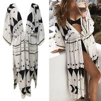 Women Cotton Kimono Beach Cardigan Bikini Cover Up Wrap Beachwear Long Dress US