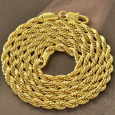 24 INCHES 9K Yellow Gold FILLED MENS Unisex ROPE CHAIN NECKLACE F4771