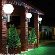 Lot de 2 extérieur MUR FEUX LAMPES ACIER INOX BOULE EN VERRE VERANDA éclairage