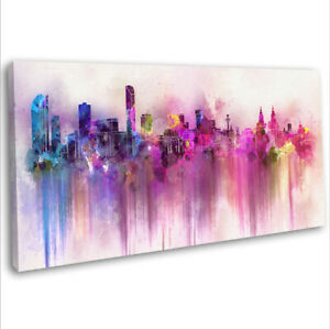 Liverpool Skyline Canvas Print Panoramic Abstract Framed Wall Art 91x40cm ~5