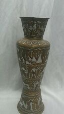 Amazing vtg Egyptian silver metal copper inlay figures brass vase 16 2/8 inc