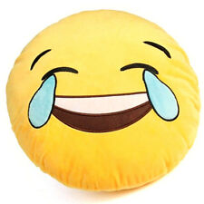 Emoji Joy Pillow Plush Yellow Round Cushion Stuffed Toy Doll for Kids Bed Chair