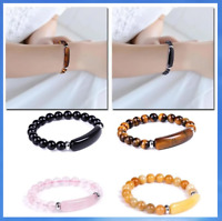 Crystal Oblong Gemstone Bead Bracelet New Age Healing Chakra Reiki Jewellery UK