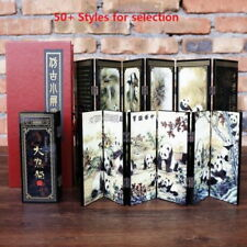 "1pc Mini Lacquer Folding Screen Wood Double Sides Chinese Art 18.3""x9.4"""