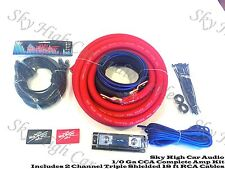 Oversized 1/0 Ga AWG Amp Kit Triple Shield RCA Red Black Complete Sky High Car