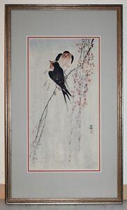Listed Japanese Artist KOSON OHARA, Original  Color Woodblock Print Swallows