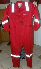 Men Red RPS Fire Retardant Flame Resistant COVERALLS Transocean 44 Tall Crude FR