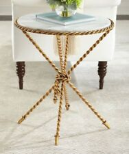 Neiman Marcus Tazio Marble-Top Side Table Italian Gold Twisted White Marble