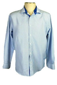 Alex Vando Men's L White & Blue Long Sleeve Diamond Print Shirt, Blue Flip Cuffs