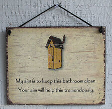 Bathroom Sign Watch Aim Clean Toilet Your Tinkle Sweetie Neat Wipe Cleaner Scrub