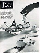PUBLICITE ADVERTISING 054  1960  CRISTAL DAUM    corbeille à fruits