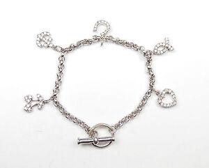 Charm Bracelet Sterling Silver Clear CZ Anchor Horseshoe Love Heart 15.3g