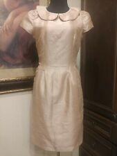 Women's Peter pan collar dress size small taffeta  apricot sheath pockets lined