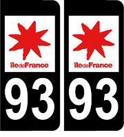 93 ILE DE FRANCE NOIR 2 stickers autocollants style plaque immatriculation AUTO