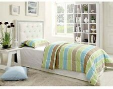 Vinyl Upholstered Headboard Tufted Twin Faux Leather Bed White Bedroom Home New