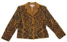 Blue Ice Designer Brand Rust Black Design Faux Suede Blazer Jacket Size 8