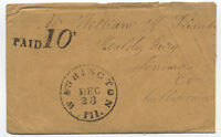 Mid 1850s stampless Washington Illinois to California paid 10 cent rate