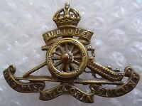WW1 Royal Artillery Regiment Cap Badge Moving Wheel KC Slider BRASS Genuine