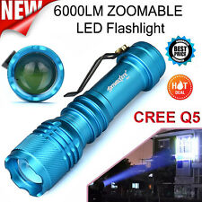 6000LM CREE Q5 Waterproof 3 Modes ZOOMABLE LED Super Bright Flashlight Torch New
